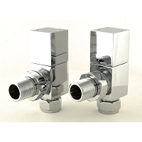 Eastgate Square Chrome Angled Radiator Valves (1 pair)